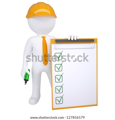 3d human in helmet with marker and check list. Isolated render on white background - stock photo