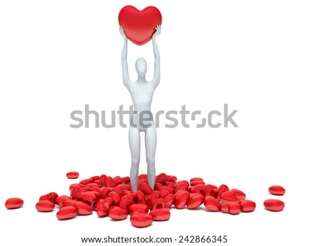 3d human in love with 3d red heart - stock photo