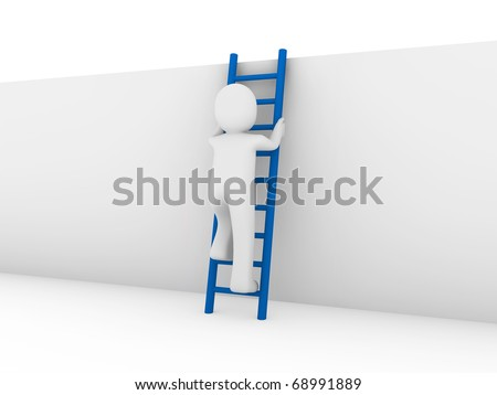 3d human ladder wall success business up blue