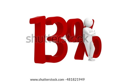 3d human leans against a red 13%