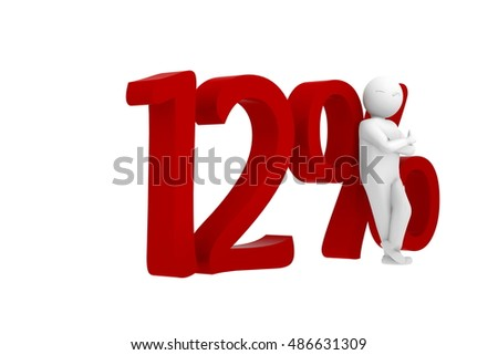 3d human leans against a red 12%