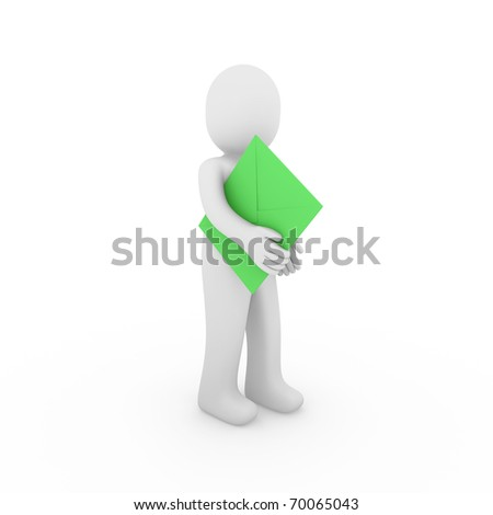 3d, human, letter, mail, green, email, post, business