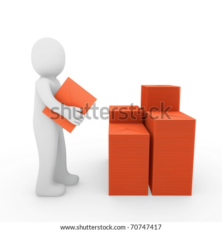 3d, human, letter, mail, orange, email, post, business
