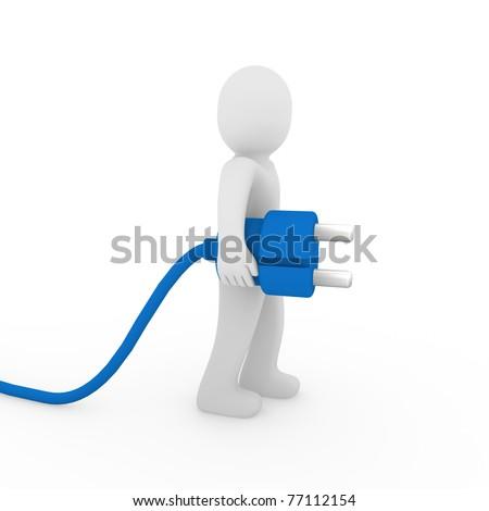 3d human man plug blue cable socket power - stock photo