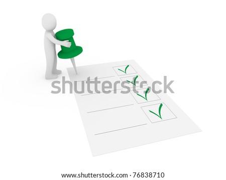 3d human man tack check green ok list - stock photo
