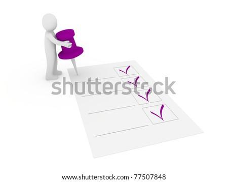3d human man tack check purple ok list - stock photo