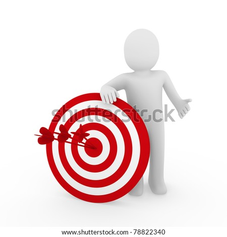 3d human man target center success red business - stock photo