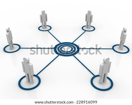 3d human men connection team teamwork circle  - stock photo