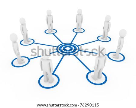 3d human men connection team teamwork circle blue - stock photo