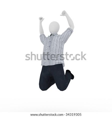3d human model on white background - stock photo