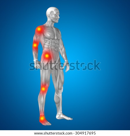 3D human or man with muscles for anatomy or health designs with articular or bones pain isolated on black background, for medical, fitness, medicine, bone, care, hurt, osteoporosis arthritis or body - stock photo