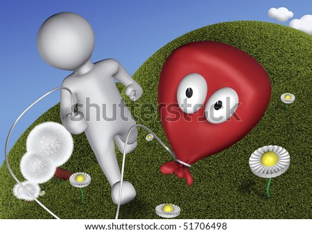 3d Human playing with toy balloon - stock photo