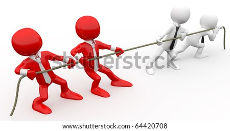 3D human pulling a rope - stock photo