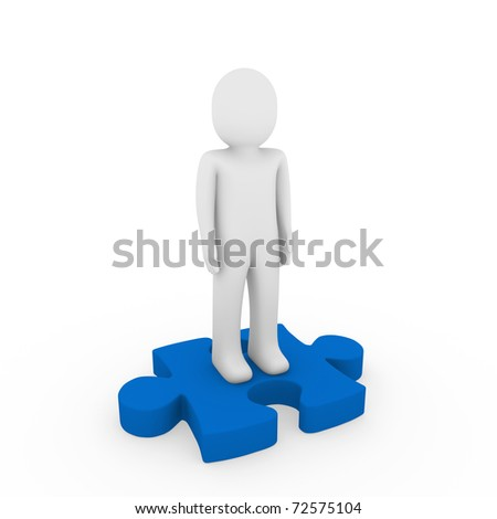 3d human puzzle blue business white success teamwork