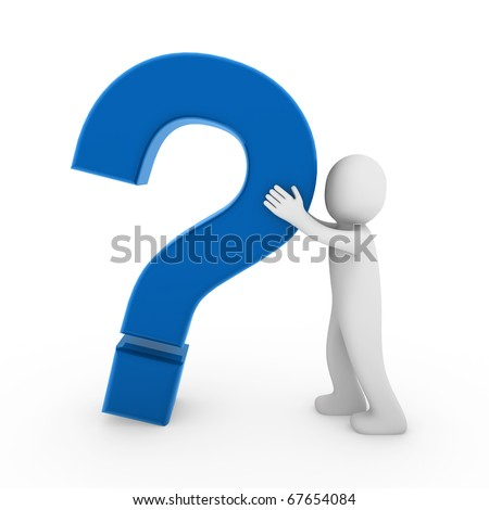 3d human question mark red business - stock photo