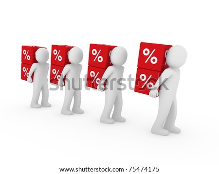 3d human red sale cube success percent business - stock photo