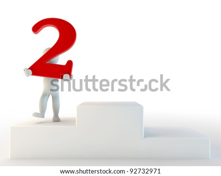 3d human second place, 3d render isolated on white - stock photo