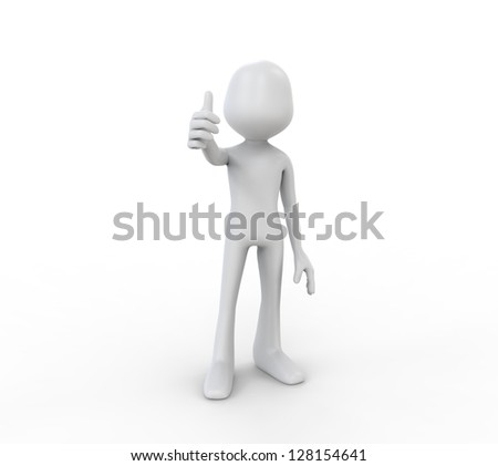 3D Human Showing with the Thumb Up