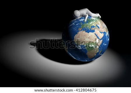 3D human sleeps on Earth - Europe, Africa and Middle East edition - stock photo