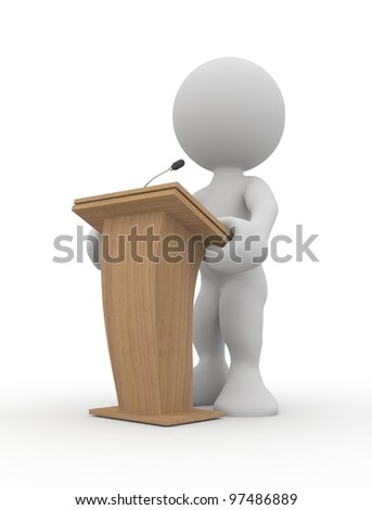 3d human speaking from a tribune. 3d illustration. - stock photo