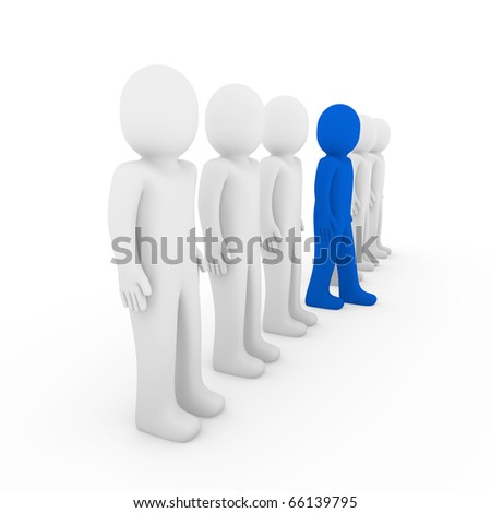 3d human stand crowd blue isolated white background