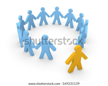 3d human standing out of the circle of people. 3d rendering. - stock photo