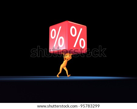 3D human take a big percent. - stock photo