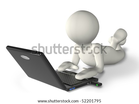 3D human that work with a laptop - stock photo