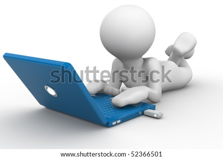 3D human that work with laptop - stock photo