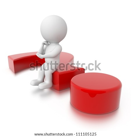 3d human thinking on red question mark - stock photo