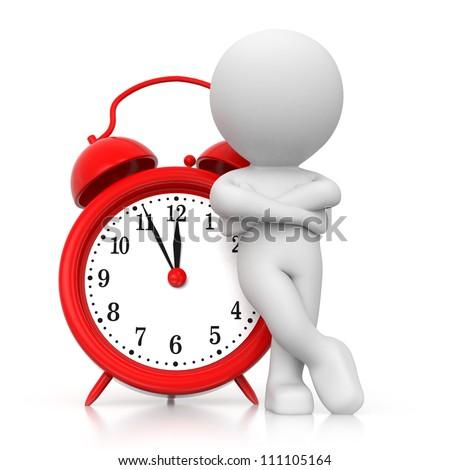 3 D Human Waiting Alarm Clock Stock Illustration 111105164 ...