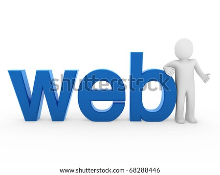 3d human web blue internet white business man - stock photo