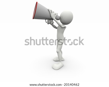3d human with a megaphone - stock photo
