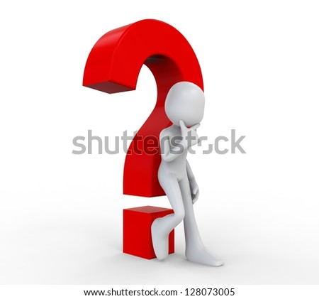 3D Human with a Question  Mark - stock photo