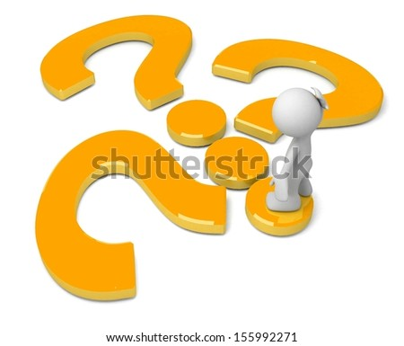 3d human with a question mark. 3d illustration. - stock photo