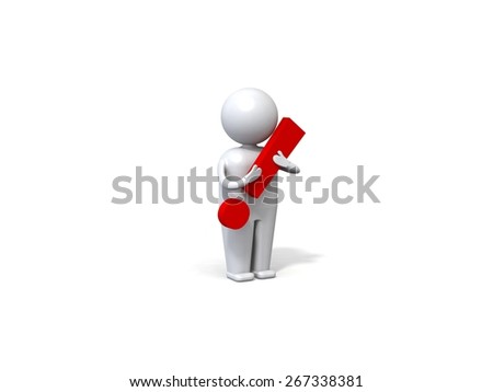 3d human with a red exclamation mark