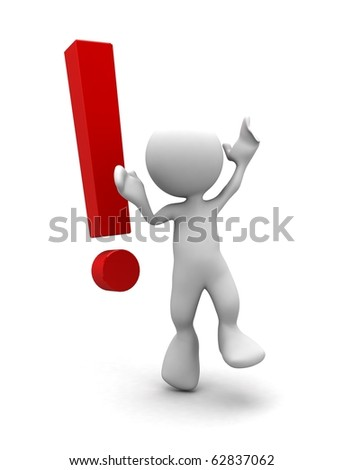 3d human with a red exclamation mark. 3d illustration. - stock photo