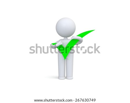 3d human with big positive symbol in hands - stock photo