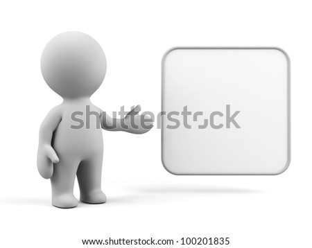 3d human with blank board. - stock photo