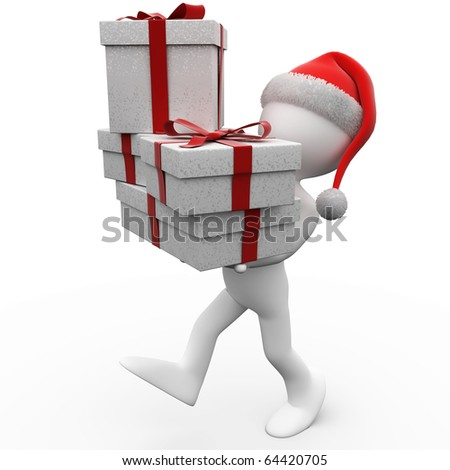 3D human with Christmas gifts and a Santa Claus hat - stock photo
