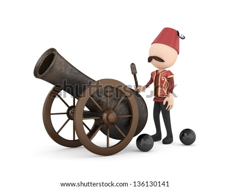 3d human with ramadan cannon -isolated - stock photo