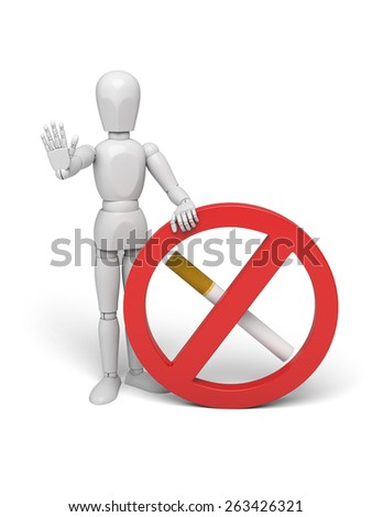 3d human with red no smoking sign on white background