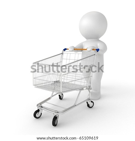 3d human with shopping cart - from my 3d human collection - stock photo