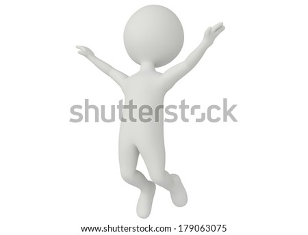 3d humanoid character jumping in the air on white