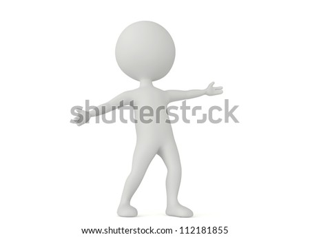 3d humanoid character make a welcome pose on white