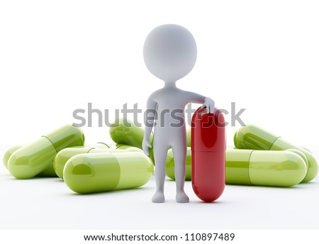 3d humanoid character with a red capsule on front - stock photo