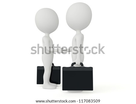 3d humanoid two businessman character with a briefcase shake their hands - stock photo