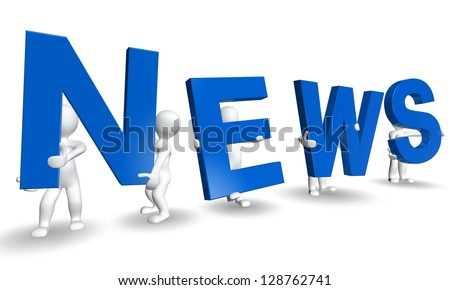 3D humans forming blue NEWS word, 3d render isolated on white - stock photo