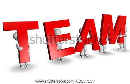 3D humans forming red TEAM word, 3d render isolated on white - stock photo