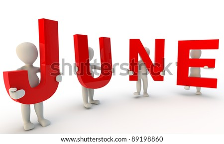 3D humans forming red word June made from 3d rendered letters isolated on white - stock photo